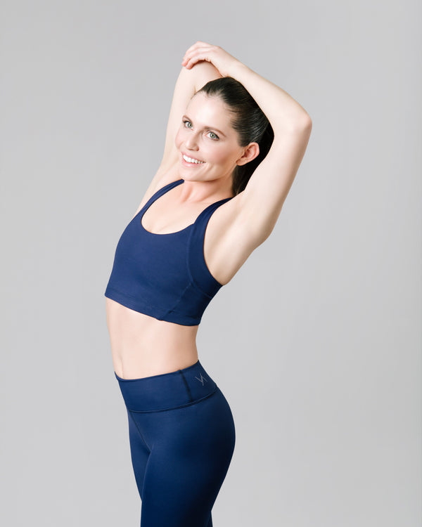 Gabrielle Racerback Sports Bra, Ink Blue