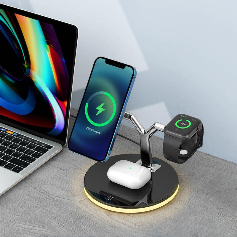 3-in-1 Magnetic Wireless Charging Station with Night Light for iPhone 12 AirPods & Apple Watch