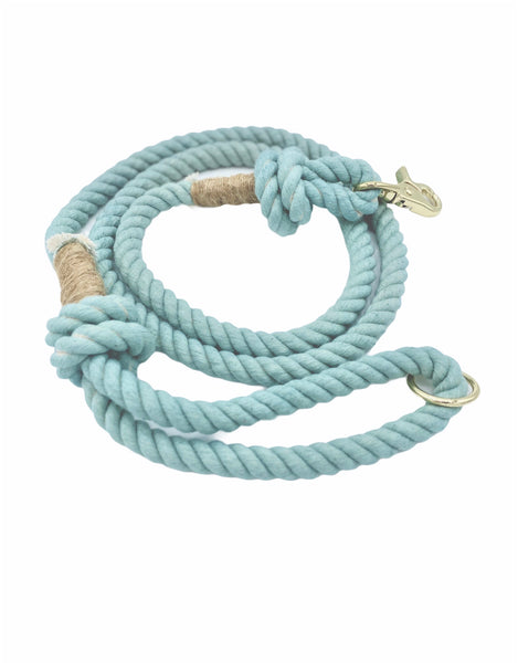 Teal rope dog leash with twine and light gold hardware.