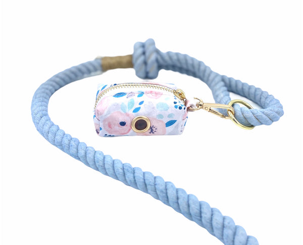 Blue Floral Dog Waste Bag Holder and Blue Dog Cotton Rope Leash