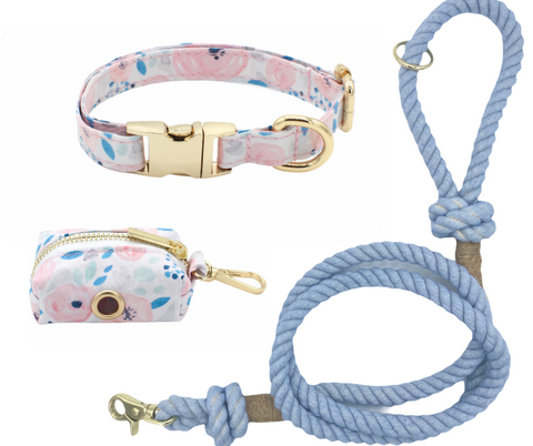 Blue Floral Dog Collar and Blue Cotton Rope Leash