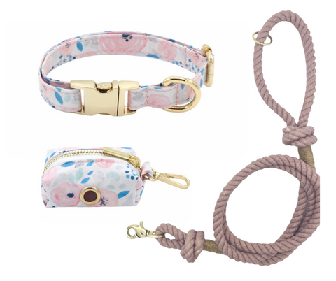 Blue Floral Dog Collar and Smokey Cotton Rope Leash