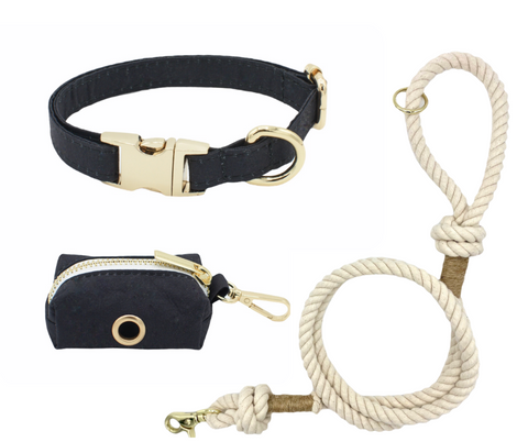 Off White Rope Leash and Collar Set