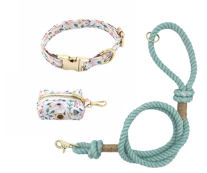 Fun Floral Dog Collar and Teal Cotton Rope Leash