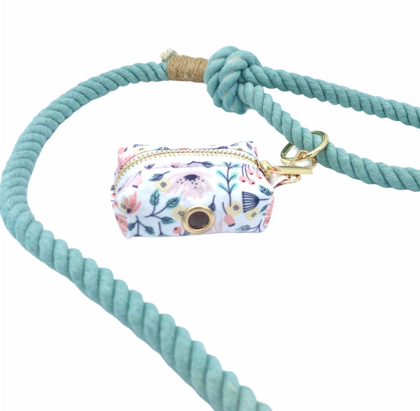 Fun Floral Waste Bag Holder with Cotton Rope Leash