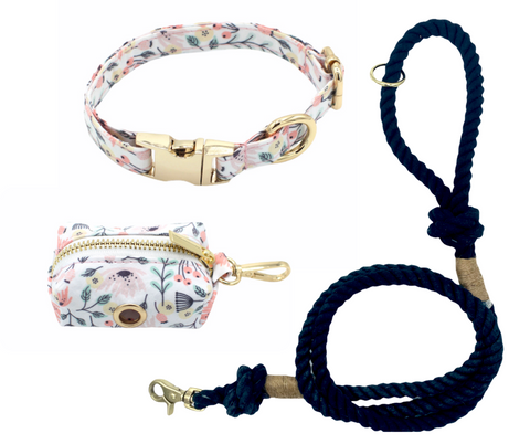 Fun Floral Dog Collar and Black Cotton Rope Leash