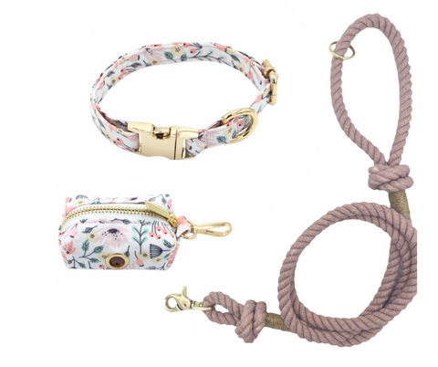 Fun Floral Dog Collar and Smokey Rose Cotton Rope Leash