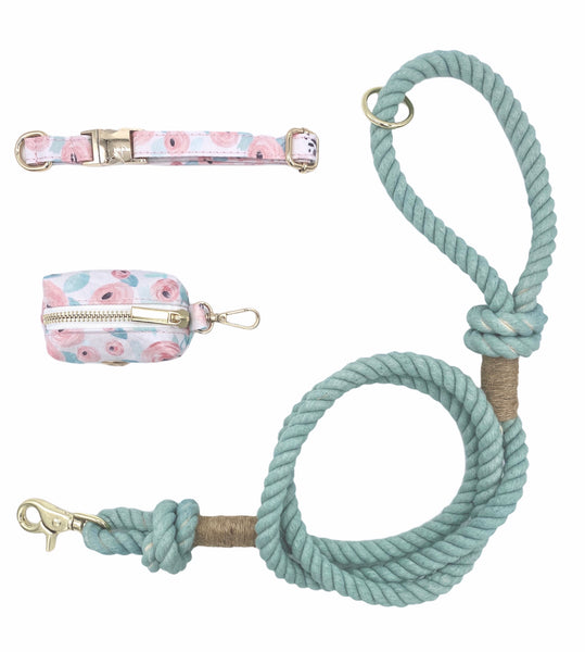 Teal Cotton Rope Leash and Collar Set