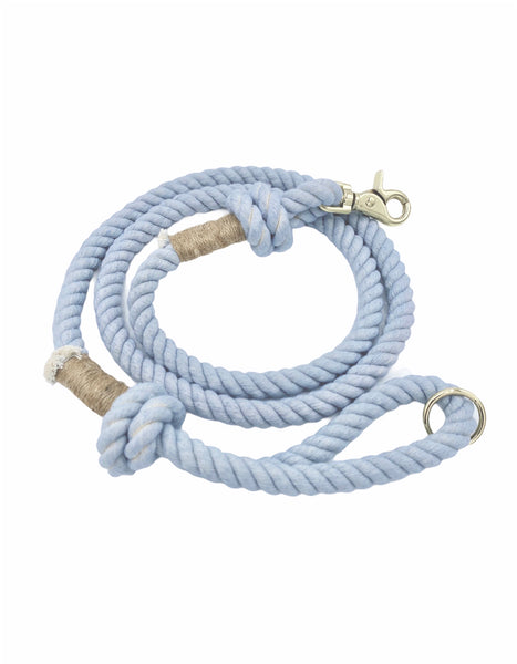 Light blue rope dog leash with twine and light gold hardware.