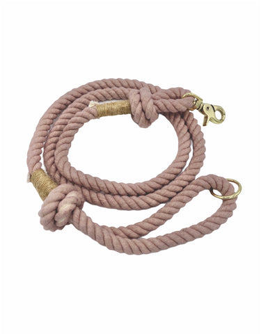 Smokey rose colored rope dog leash with twine and light gold hardware.