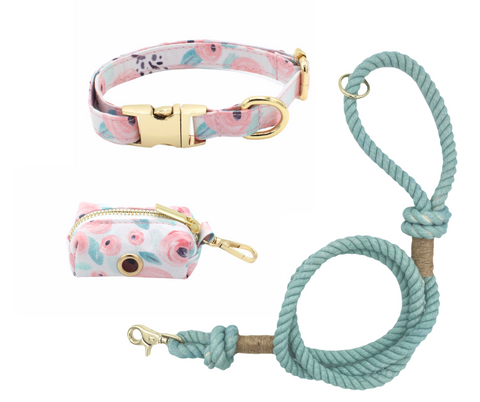 Green Floral Dog Collar and Teal Cotton Rope Leash