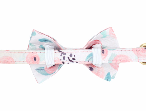 Green Floral Dog Bow Tie Collar