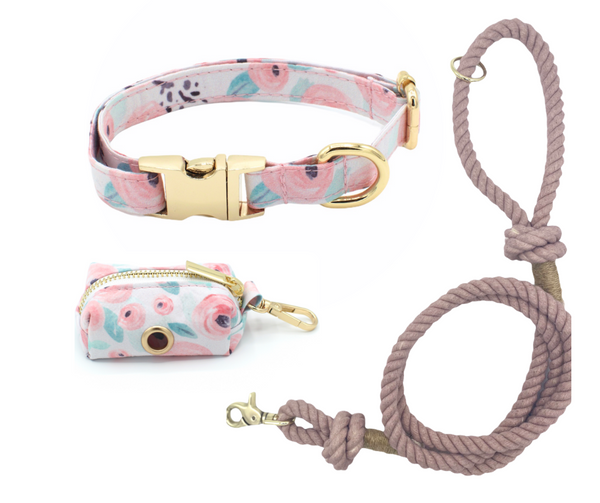 Green Floral Dog Collar and Smokey Rose Cotton Rope Leash