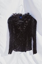 Load image into Gallery viewer, VINTAGE BLACK RUFFLE TOP (S)