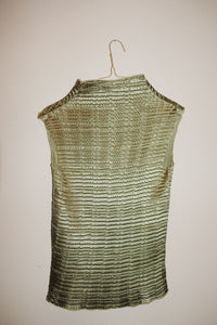 METALLIC OLIVE CRINKLE TOP (L)