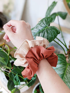 Scrunchies - Set of 2 (Rust x Grid)