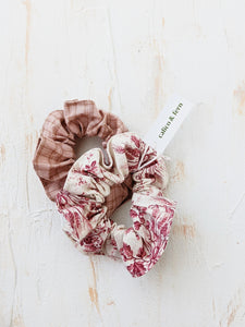 Scrunchies - Set of 2 (Antique Rose x Pink Plaid)