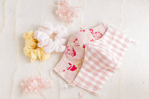 Reusable Face Mask - Linen x Cotton (Pink Gingham)