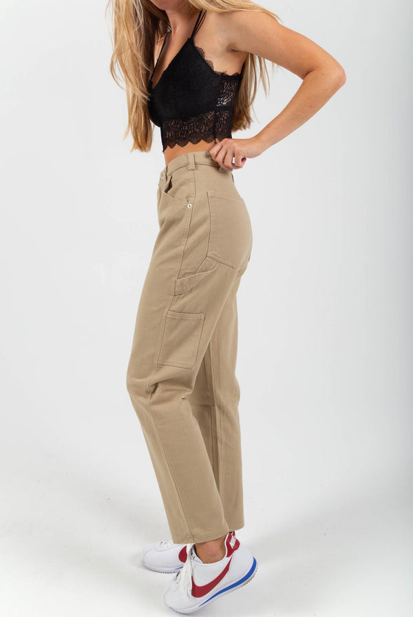 Mid Rise Carpenter Pants - Khaki