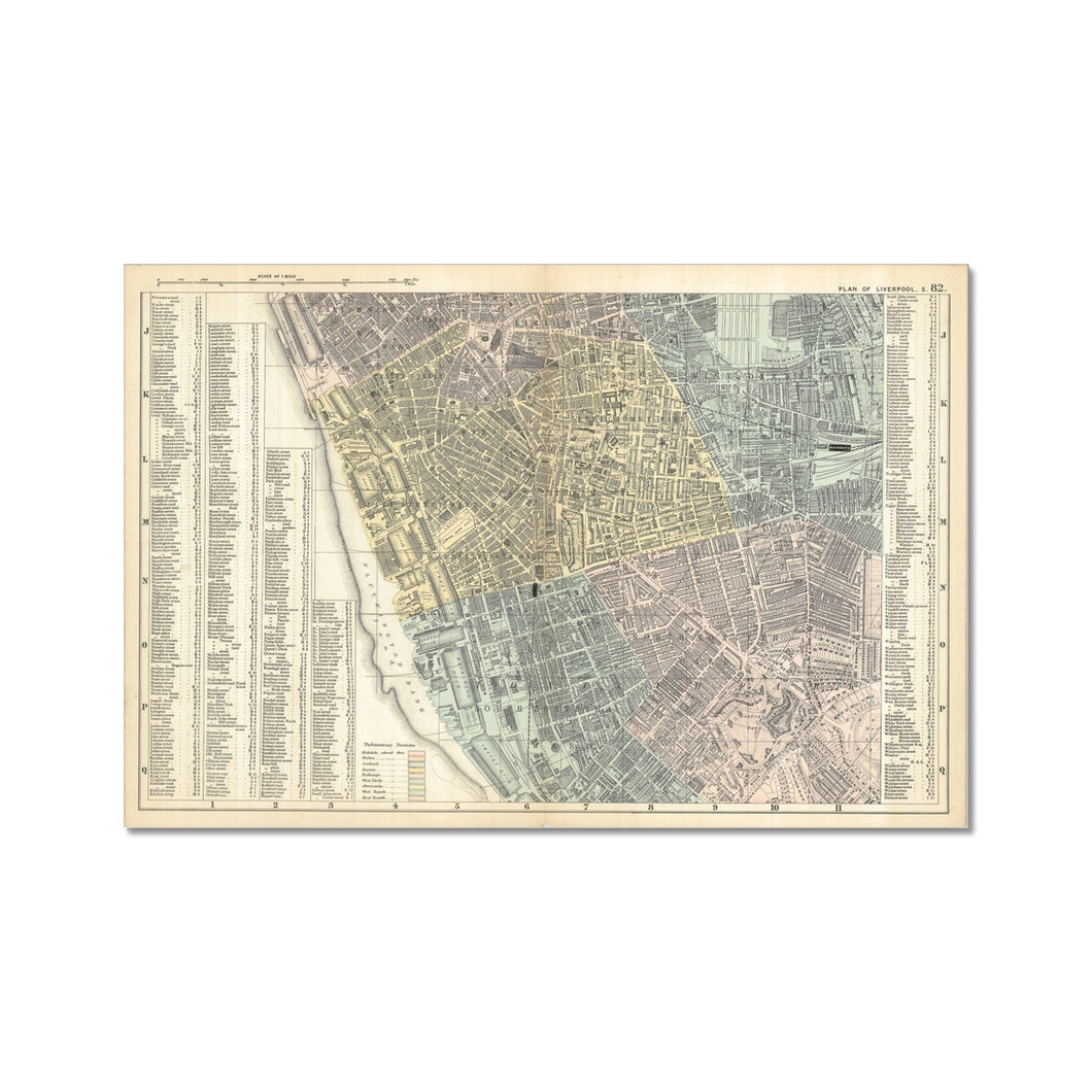 Plan of Liverpool (South Sheet), 1890 Fine Art Print