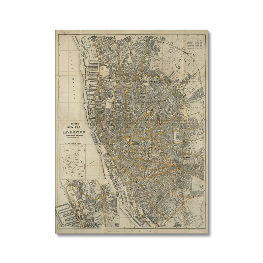 Bacon's New Plan of Liverpool, 1910 Canvas
