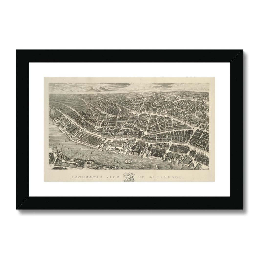 Ackermann's Panoramic View of Liverpool, 1847 Framed & Mounted Print