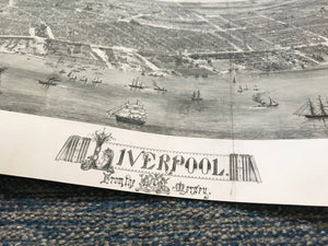 Detail of title and shoreline on birds eye view of Liverpool
