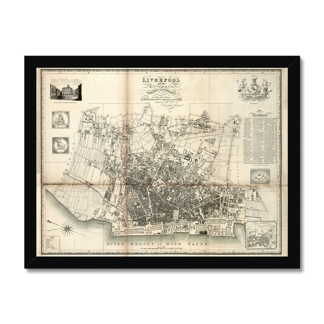 Liverpool and its Environs, by William Swire, 1824 Framed Print