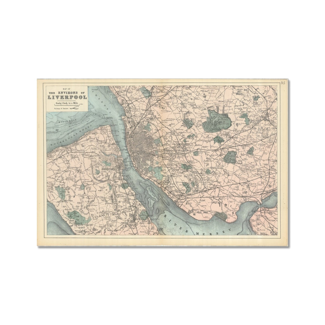 Bacon's Map of Liverpool, 1885 Hahnemühle Photo Rag Print