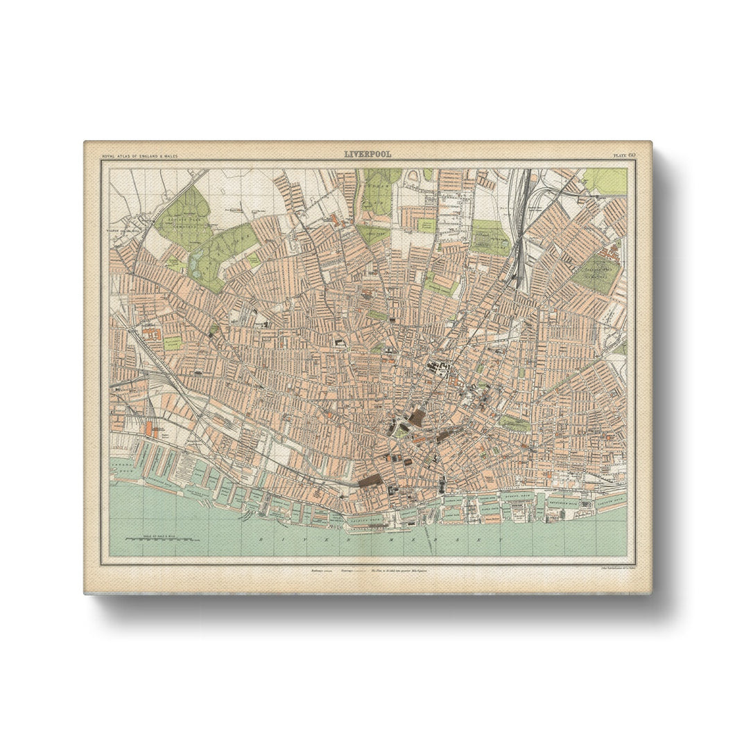 Royal Atlas Plan of Liverpool, 1898 Canvas