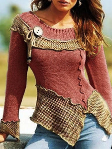 Crew Neck Shift Long Sleeve Sweater