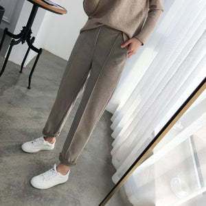 Autumn Winter Plus Size Thicken Wool Women Pencil Pants