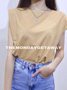 Shoulder Pad Tank (Nude) - themondaygetaway.