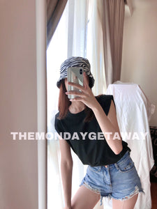 Shoulder Pad Tank (Black) - themondaygetaway.