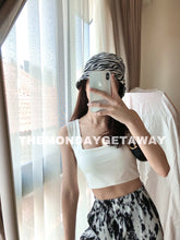 Load image into Gallery viewer, Square Neck Cropped Tank (White) - themondaygetaway.