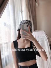Load image into Gallery viewer, Square Neck Cropped Tank (Black) - themondaygetaway.