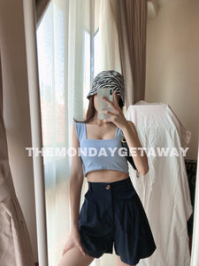Square Neck Cropped Tank (Baby Blue) - themondaygetaway.