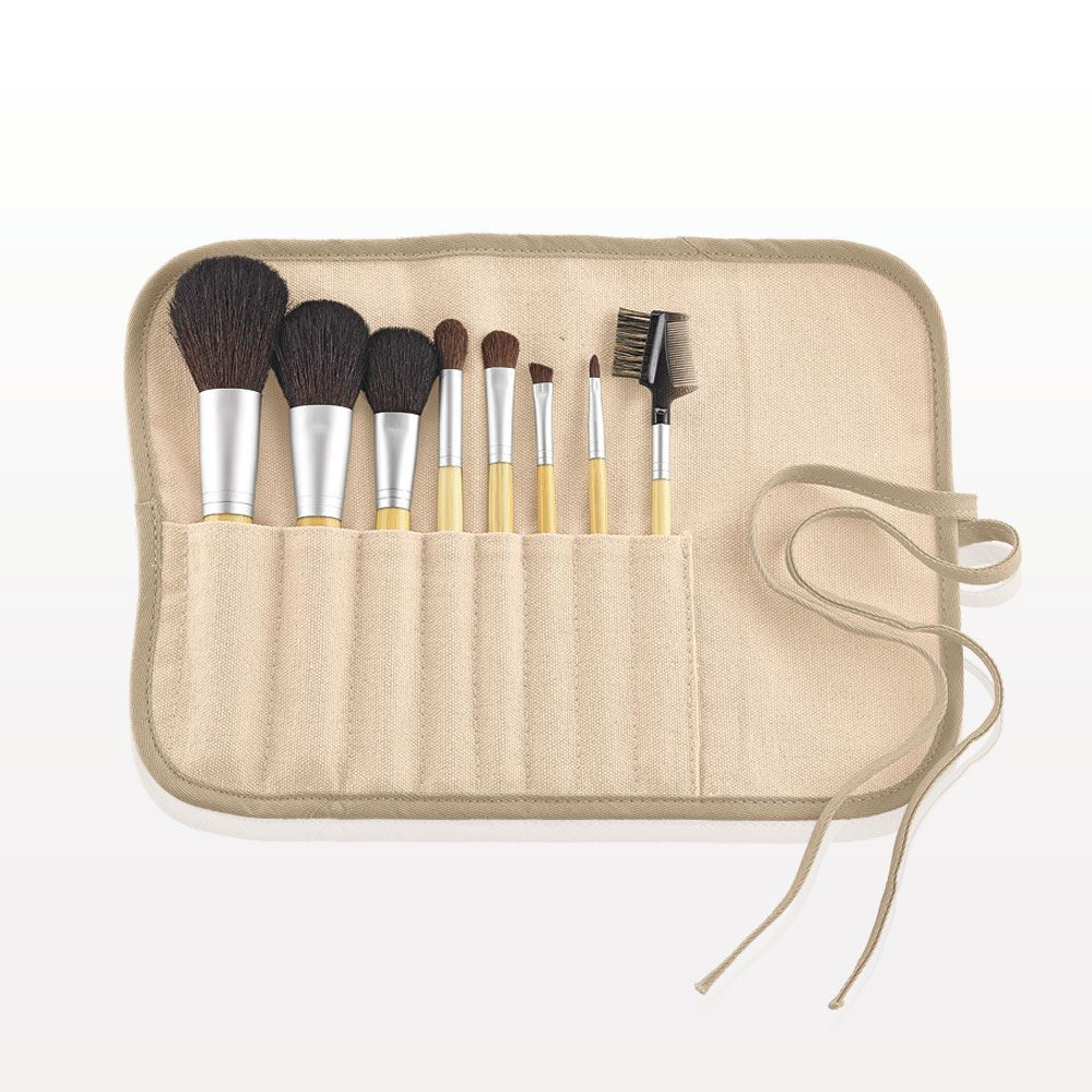 8-Piece Eco-Friendly Brush Set with Roll & Tie Pouch, Natural Hair