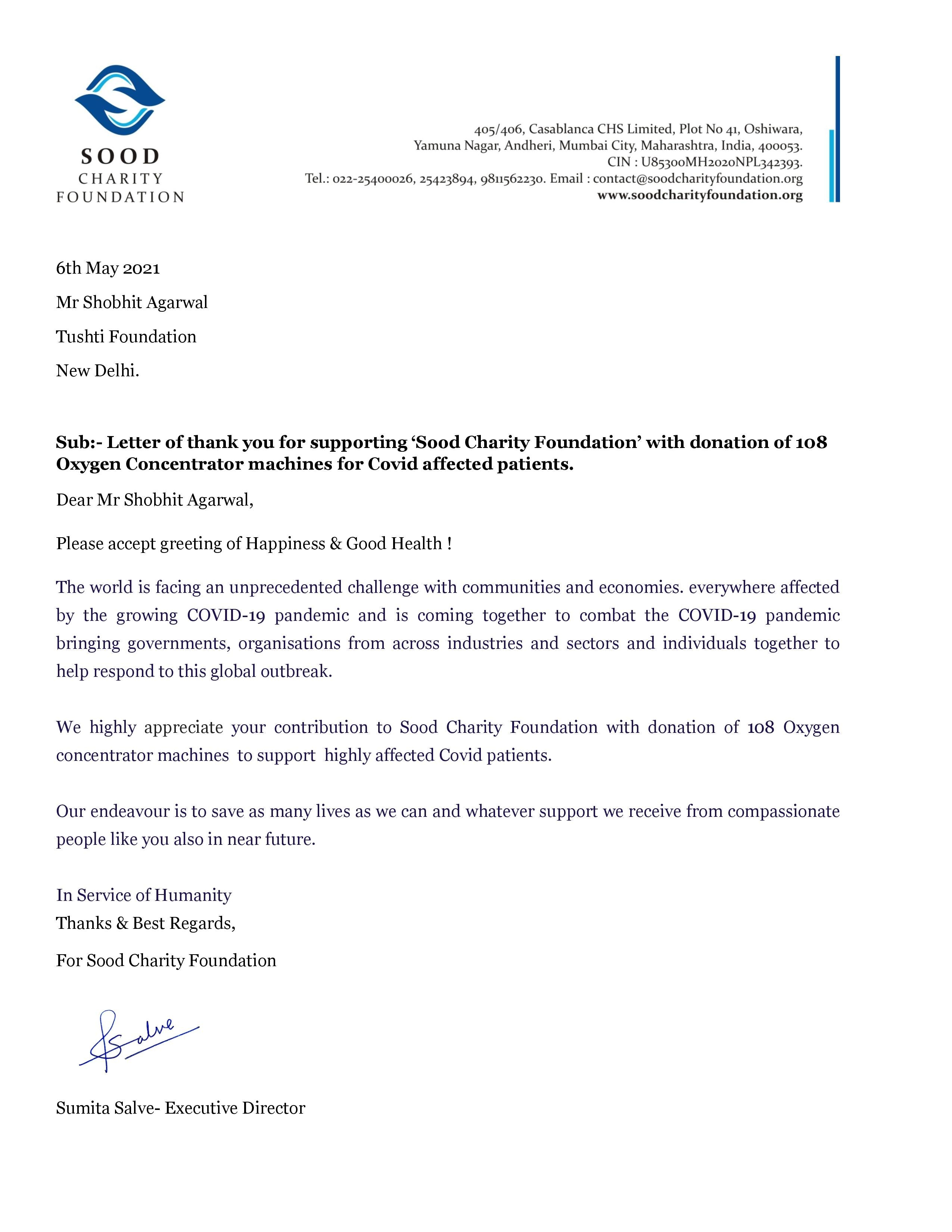 Sood Charity Foundstion - Tushti Foundation Oxygen Concentrator Donation