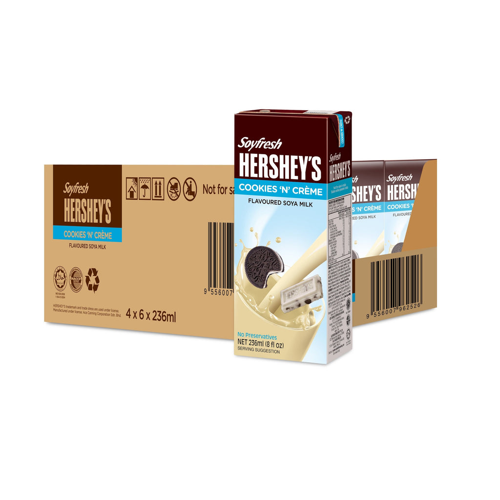 Hershey's Soyfresh Soya Milk - Cookies & Crème 236ml x 24  packs