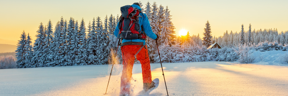 A man snowshoeing in the Canadian wilderness