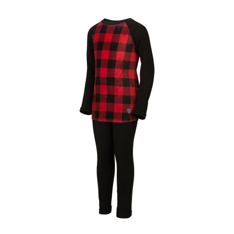 Kombi - Cozy Fleece Set Jr in Red Buffalo Plaid