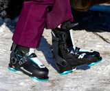 A woman wearing a pair of Nordica HF 85 W 2021 ski boots.