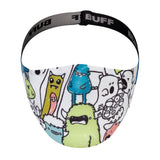 Front closeup of Buff Kids' Filter Face Mask in Boo Multi