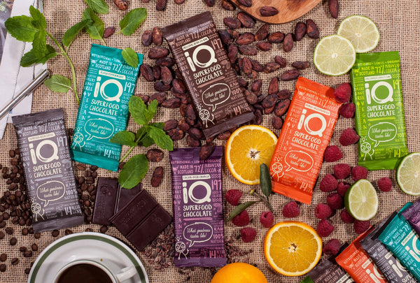 24 x 35g iQ Superfood Chocolate Bars (tasting mix) Free delivery.
