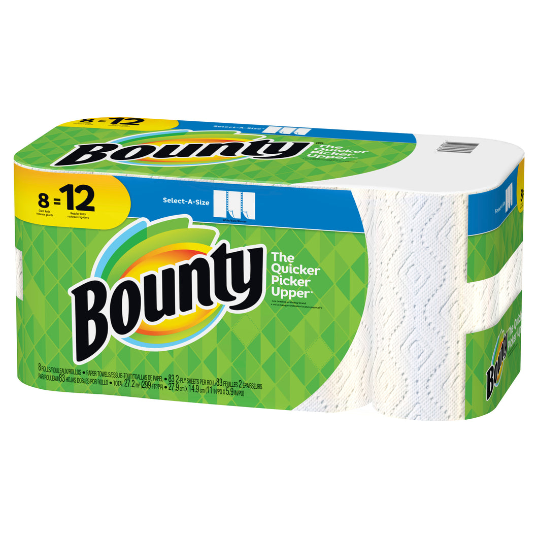 Bounty Household Roll Towels, 83 Sheet Rolls - 8/CS (90963)