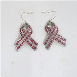 Pink awareness rhinestone earrings