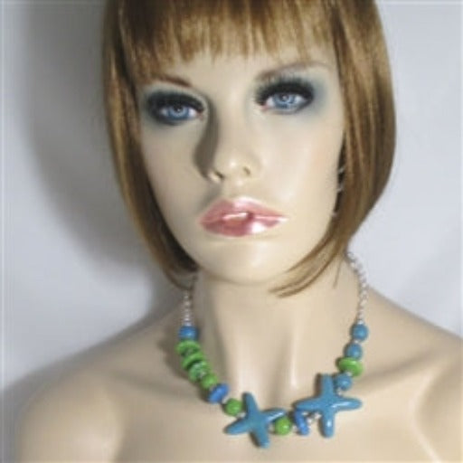Buy Turquoise & green Kazuri fair trade bead necklace Starfish motif