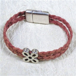 Pretty pink braided leather double cord bracelet