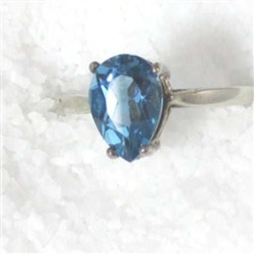 Woman's London Blue Topaz Pear Cut Gemstone Fashion Ring